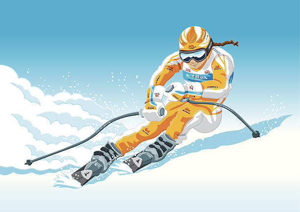 Female Downhill Skier Hand-drawn Vector Illustration of a female downhill skier. The illustration is on a separate layer, so you can use the illustration on your own background. The colors in the .eps-file are ready for print (CMYK). Included files: EPS (v8) and Hi-Res JPG. winter sport stock illustrations