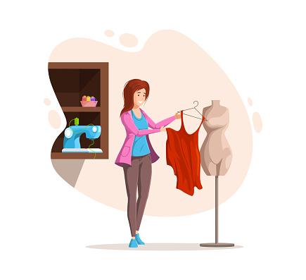 Female dressmaker sewing creative handmade clothes. Fashion designer, dressmaker, seamstress tries on sketches clothes on mannequin. Clothing designer