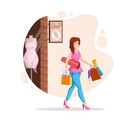 Female dressmaker sewing creative handmade clothes. Fashion designer, dressmaker, seamstress goes with purchases of fabrics, threads and yarns. Clothing designer