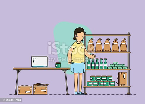 istock Female e-commerce owner, working from a home office and doing an inventory of goods in stock. 1254946793