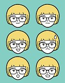 Female emoticon wearing glasses (woman face)