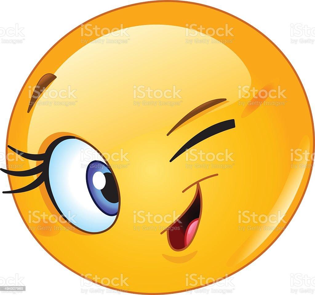 female emoticon winking stock vector art   more images of winking eye clip art free winking eye clip art free