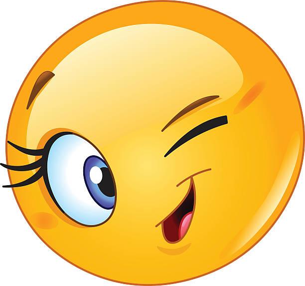 illustrazioni stock, clip art, cartoni animati e icone di tendenza di le emoticon fare l'occhiolino - fare l'occhiolino