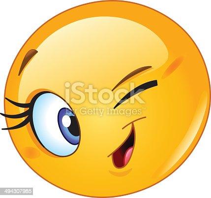 female emoticon winking stock vector art   more images of winking eye clip art ni winking eye clip art black and white