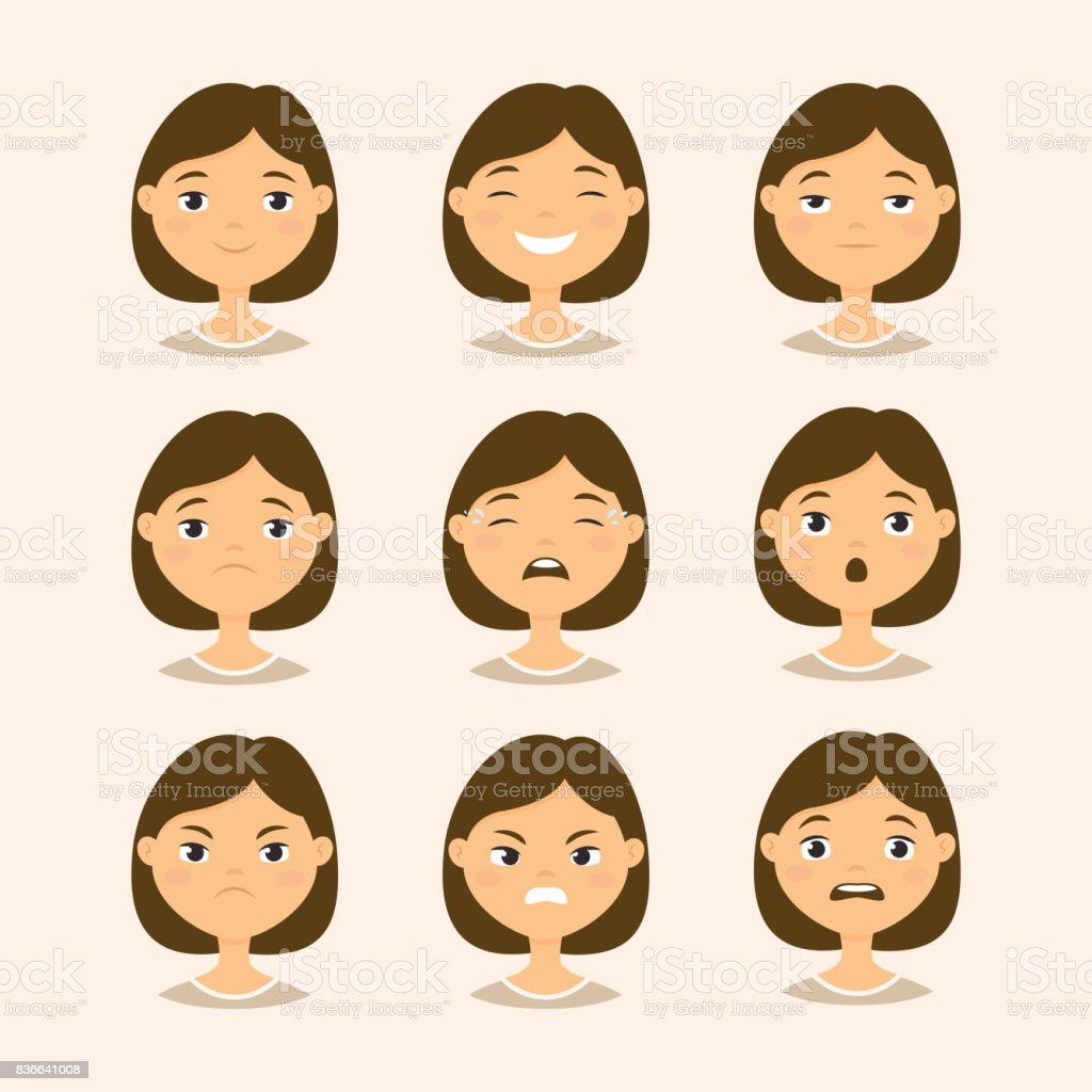 Female Emotions vector art illustration