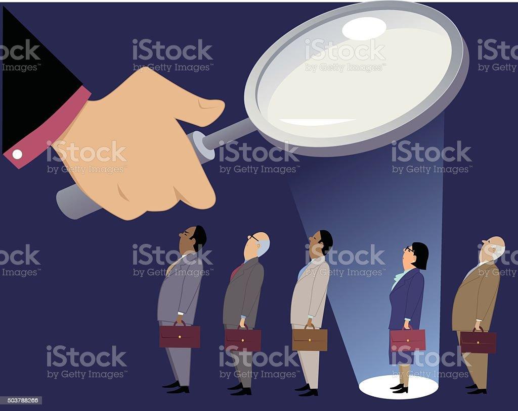 Female employee under scrutiny vector art illustration