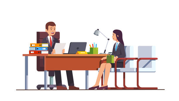 Female employment candidate having job position interview meeting with boss or HR manager in director office. Modern business interior design. Flat isolated vector Boss holding CV or HR executive manager meeting job applicant woman in director office. Female employment candidate having job position interview. Business interior design flat vector illustration interview event stock illustrations