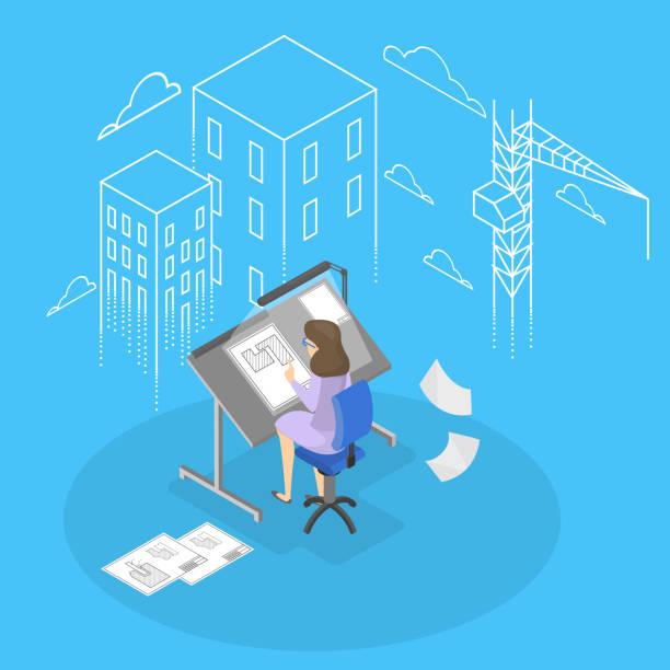 female engineer and architecturer - mieszkanie komunalne stock illustrations