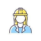 istock Female engineer RGB color icon 1262964285