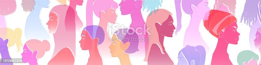 istock Female equality, different culture. 1310682326