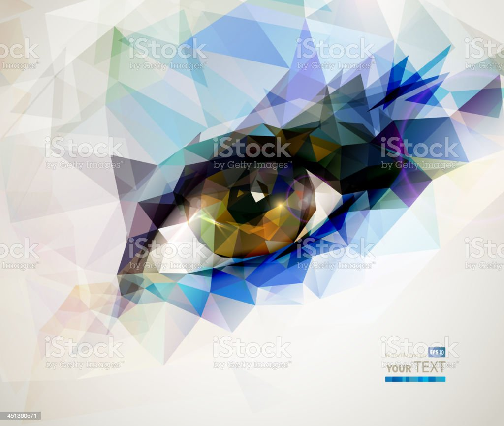 female eye created from polygons vector art illustration