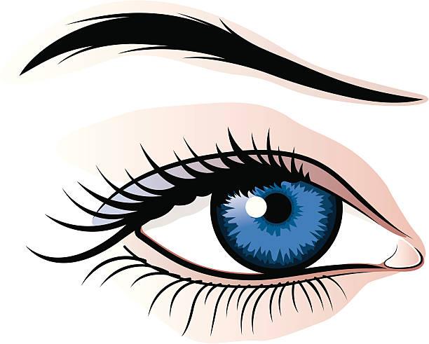 ilustraciones, imágenes clip art, dibujos animados e iconos de stock de mujer ojo medio - ojos azules
