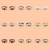 Female eyes and brows icons vector set
