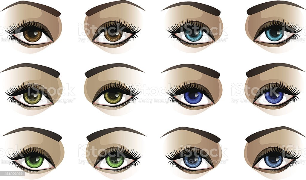 Female Eyes Stock Vector Art More Images Of Anatomy 461209299 Istock