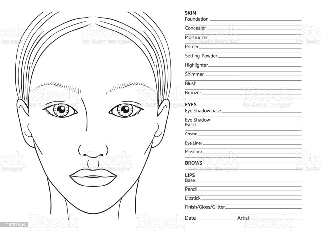 Female face chart blank for professional make-up artists. EPS 10...