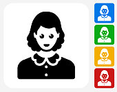 Female Face Icon. This 100% royalty free vector illustration features the main icon pictured in black inside a white square. The alternative color options in blue, green, yellow and red are on the right of the icon and are arranged in a vertical column.