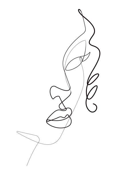 weibliches face-portrait one continuous line vector graphic - beauty face stock-grafiken, -clipart, -cartoons und -symbole
