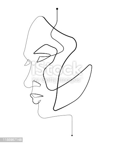 Female Face Side View Single Continuous Line Vector Illustration