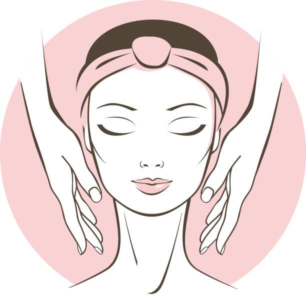 ilustrações, clipart, desenhos animados e ícones de tratamento de rosto feminino no salão spa - tratamentos de beleza
