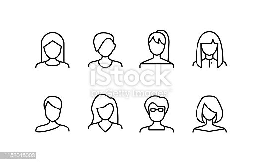 Female Face Various Types Signs Thin Line Icon Set Include of Avatar User, Portrait or Person Head. Vector illustration of Icons