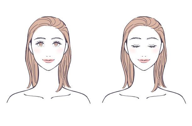 illustrazioni stock, clip art, cartoni animati e icone di tendenza di female face (eyes open / eyes closed) - smile woman open mouth