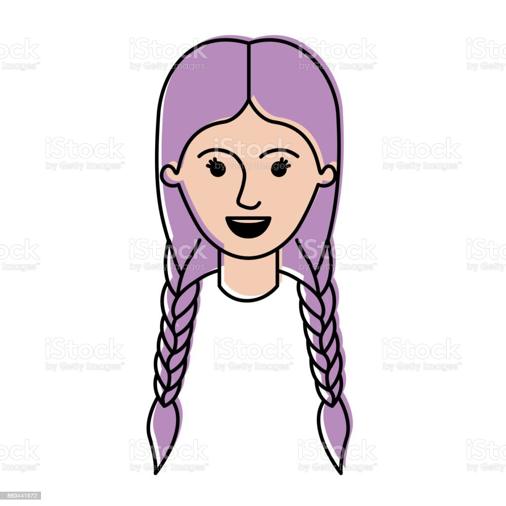 female face with braided hair in watercolor silhouette vector art illustration