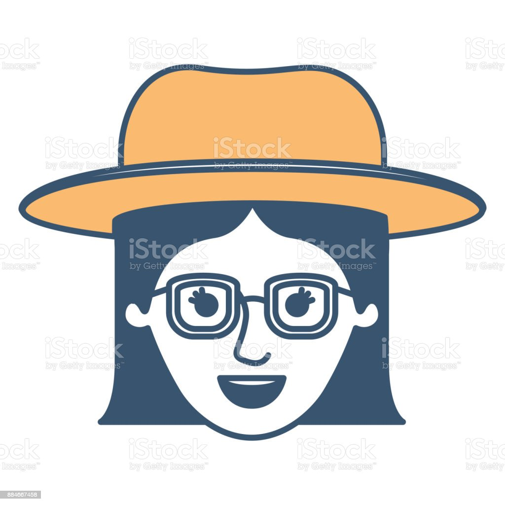 Female Face With Hat And Glasses With Short Straight Hairstyle In