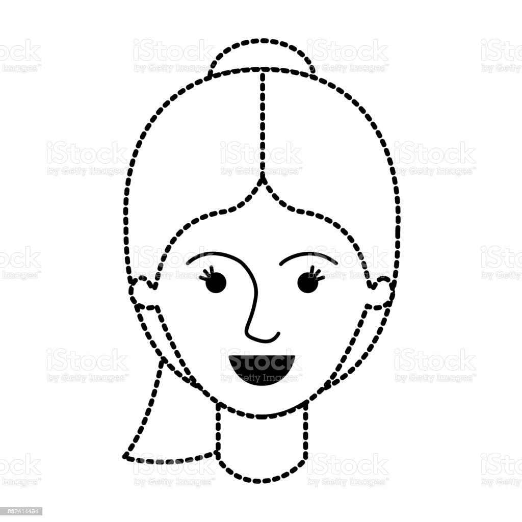 Ilustración de Rostro Femenino Con Peinado De Cola De Caballo En ...