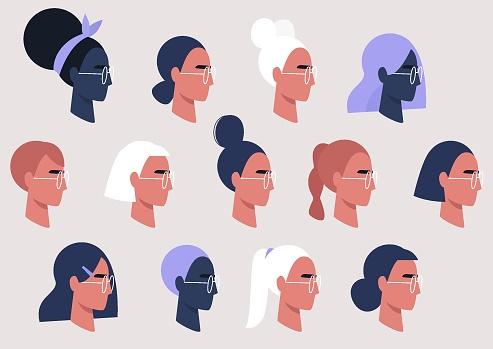 Female faces collection, user avatars, feminine pattern, millennial girls