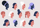 Female faces collection, user avatars, feminine pattern, millennial girls