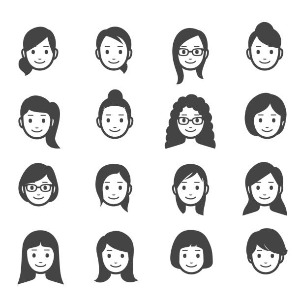 female faces icons - adults only stock illustrations