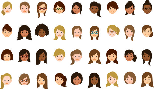 Female faces icons vector art illustration