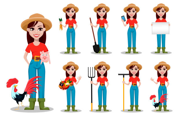 Female farmer cartoon character Female farmer cartoon character. Cheerful gardener woman rancher, set of nine poses. Vector illustration on white background rancher illustrations stock illustrations