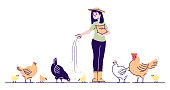 Female farmer feeding chickens flat vector character. Poultry backyard farm cartoon concept with outline. Hens, rooster and chicks pecking grain. Poultry breeding, rural hennery, bird agriculture