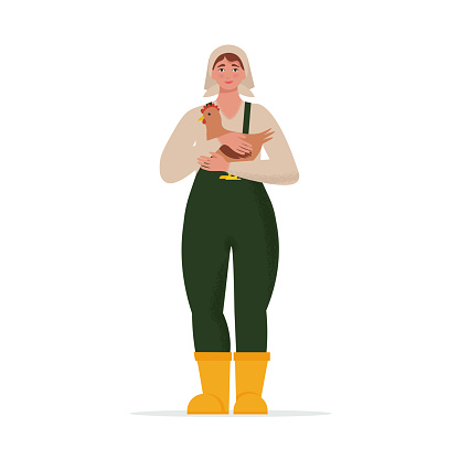 Female farmer holding a chicken in her arms. Vector illustration in flat style, isolated on white background