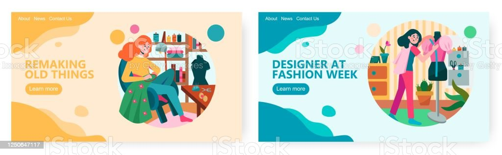 Female Fashion Designer Create New Dress Collection Woman Sewing Handmade Clothes Concept Illustration Vector Web Site Design Template Landing Page Website Illustration Stock Illustration Download Image Now Istock