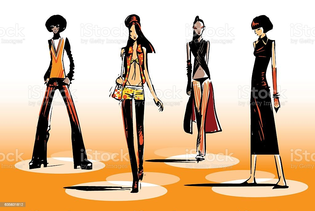 Female fashion group vector art illustration