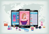 Fashion apps and icons on smartphone.