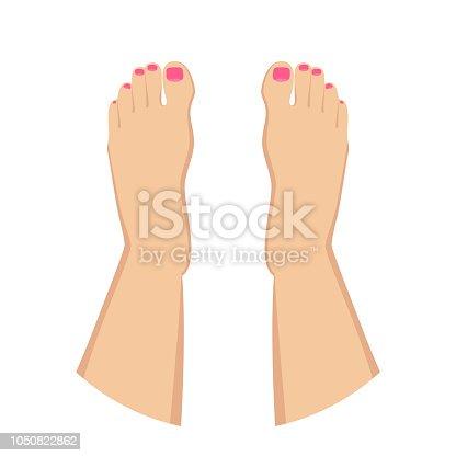 Female feet with nail polish isolated on white background