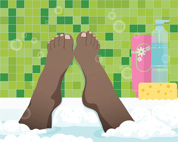female feet in bathroom - fußpflegeprodukte stock-grafiken, -clipart, -cartoons und -symbole