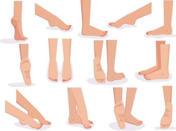 weibliche füße - fußpflegeprodukte stock-grafiken, -clipart, -cartoons und -symbole