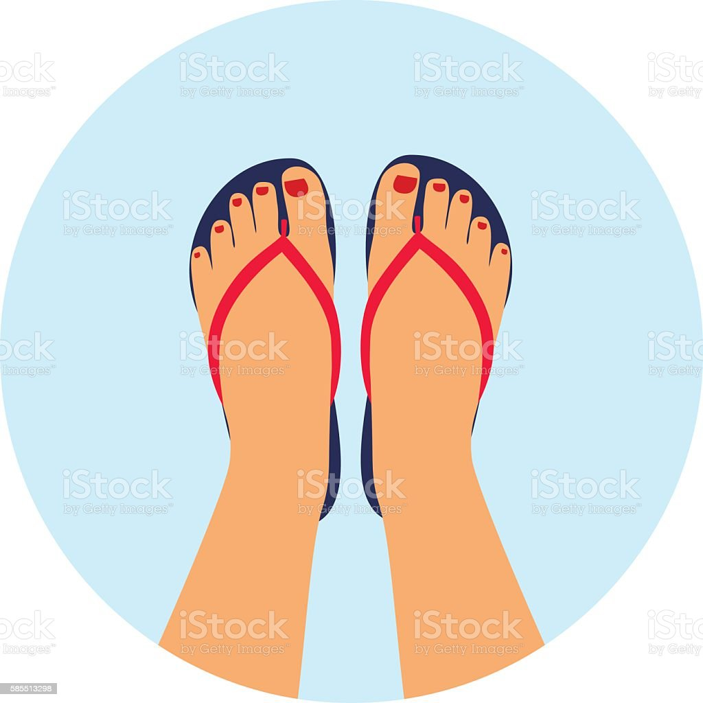 female feet with a pedicure in the summer flip-flops. vector art illustration