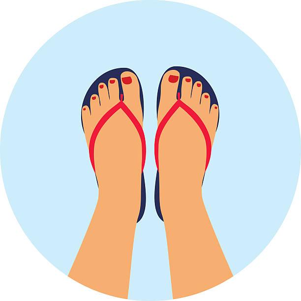 stockillustraties, clipart, cartoons en iconen met female feet with a pedicure in the summer flip-flops. - slipper