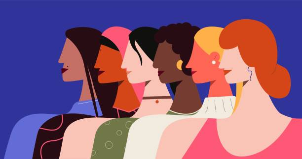 Female feminism illustration. Women all nationalities stand with their proud heads speaking out against patriarchy.