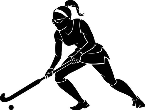 Female Field Hockey vector art illustration