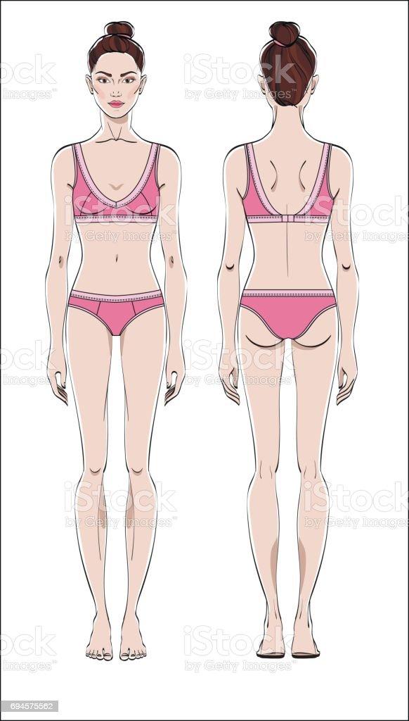 Ilustración de Figura Femenina Delantera Y Posterior Cuerpo Humano ...