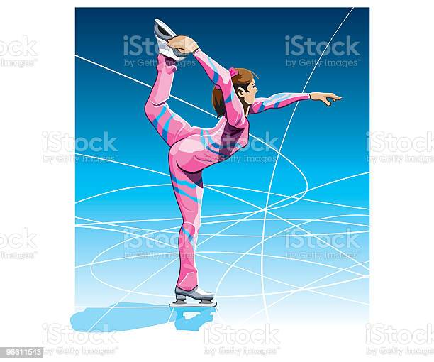 Female Figure Skater Stock Illustration - Download Image Now