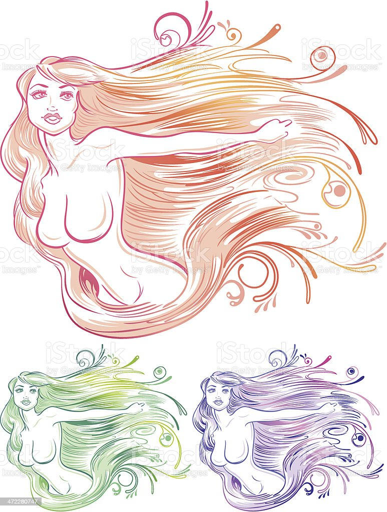Female figure with long flowing hair and curls. royalty-free stock vector art