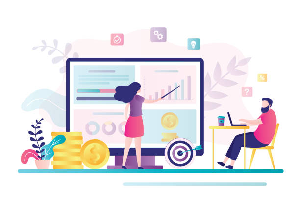 Female financial advisor provides analytics to businessman on monitor screen. Male client consult about invest ideas, finance planning. Female financial advisor provides analytics to businessman on monitor screen. Male client consult about invest strategy, finance planning. Analysis and money management concept. Vector illustration financial planning stock illustrations