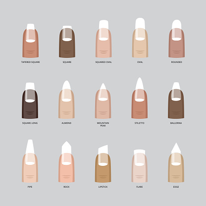 Female fingers various skin color with fashion manicure of nails different shape